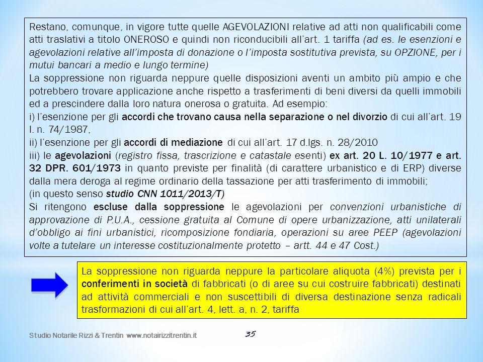 Studio Notarile Rizzi & Trentin www.notairizzitrentin.it 35 La soppressione non riguarda neppure la particolare aliquota (4%) prevista per i conferime