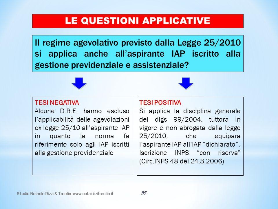55 LE QUESTIONI APPLICATIVE Il regime agevolativo previsto dalla Legge 25/2010 si applica anche all'aspirante IAP iscritto alla gestione previdenziale