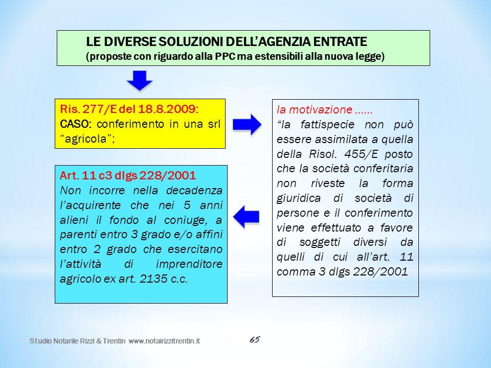 65 LE DIVERSE SOLUZIONI DELL'AGENZIA ENTRATE (proposte con riguardo alla PPC ma estensibili alla nuova legge) Ris. 277/E del 18.8.2009: CASO: conferim