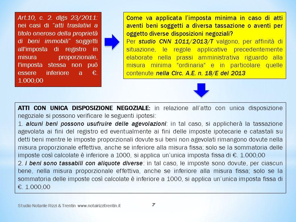 Studio Notarile Rizzi & Trentin www.notairizzitrentin.it 18 Trasferimento di TERRENI NON AGRICOLI 20132014 Aliquota e/o importo minimaAliquota e/o importo minima Registro8%€.