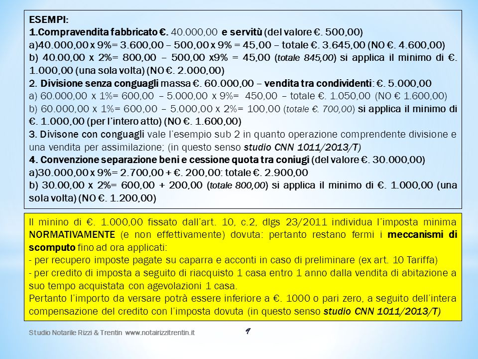 Studio Notarile Rizzi & Trentin www.notairizzitrentin.it 9 Il minino di €. 1.000,00 fissato dall'art. 10, c.2, dlgs 23/2011 individua l'imposta minima