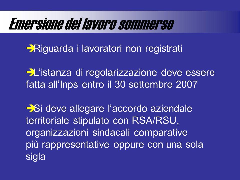 Emersione del lavoro sommerso  Riguarda i lavoratori non registrati  L'istanza di regolarizzazione deve essere fatta all'Inps entro il 30 settembre 2007  Si deve allegare l'accordo aziendale territoriale stipulato con RSA/RSU, organizzazioni sindacali comparative più rappresentative oppure con una sola sigla