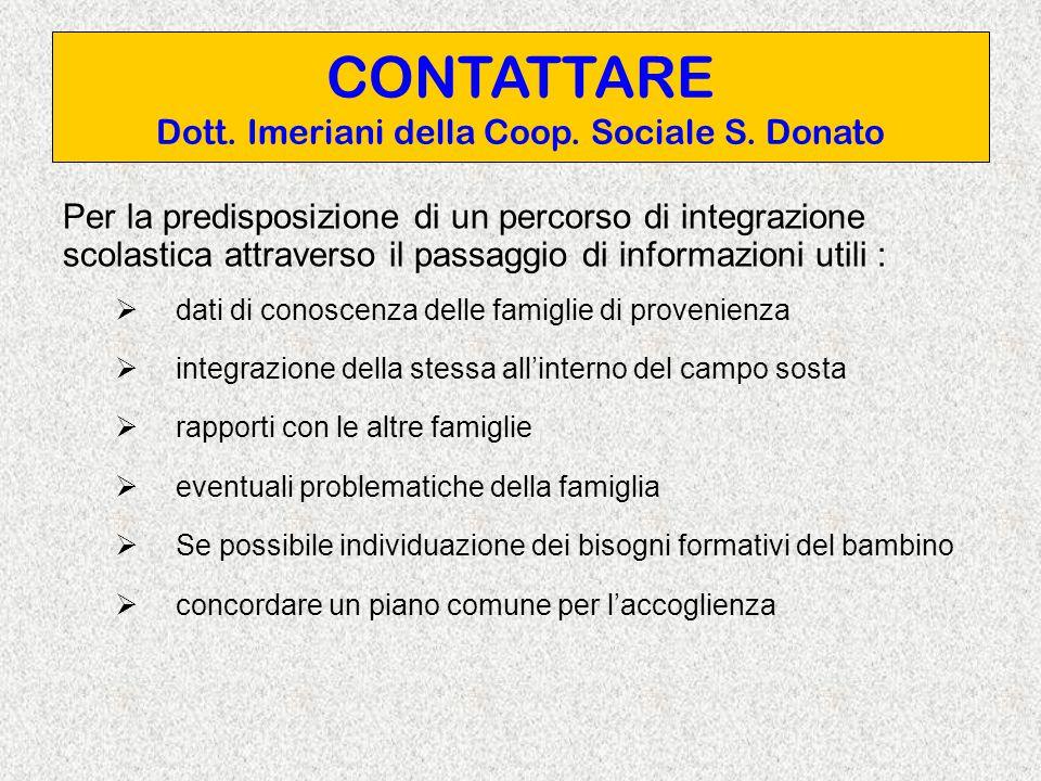 CONTATTARE Dott. Imeriani della Coop. Sociale S.