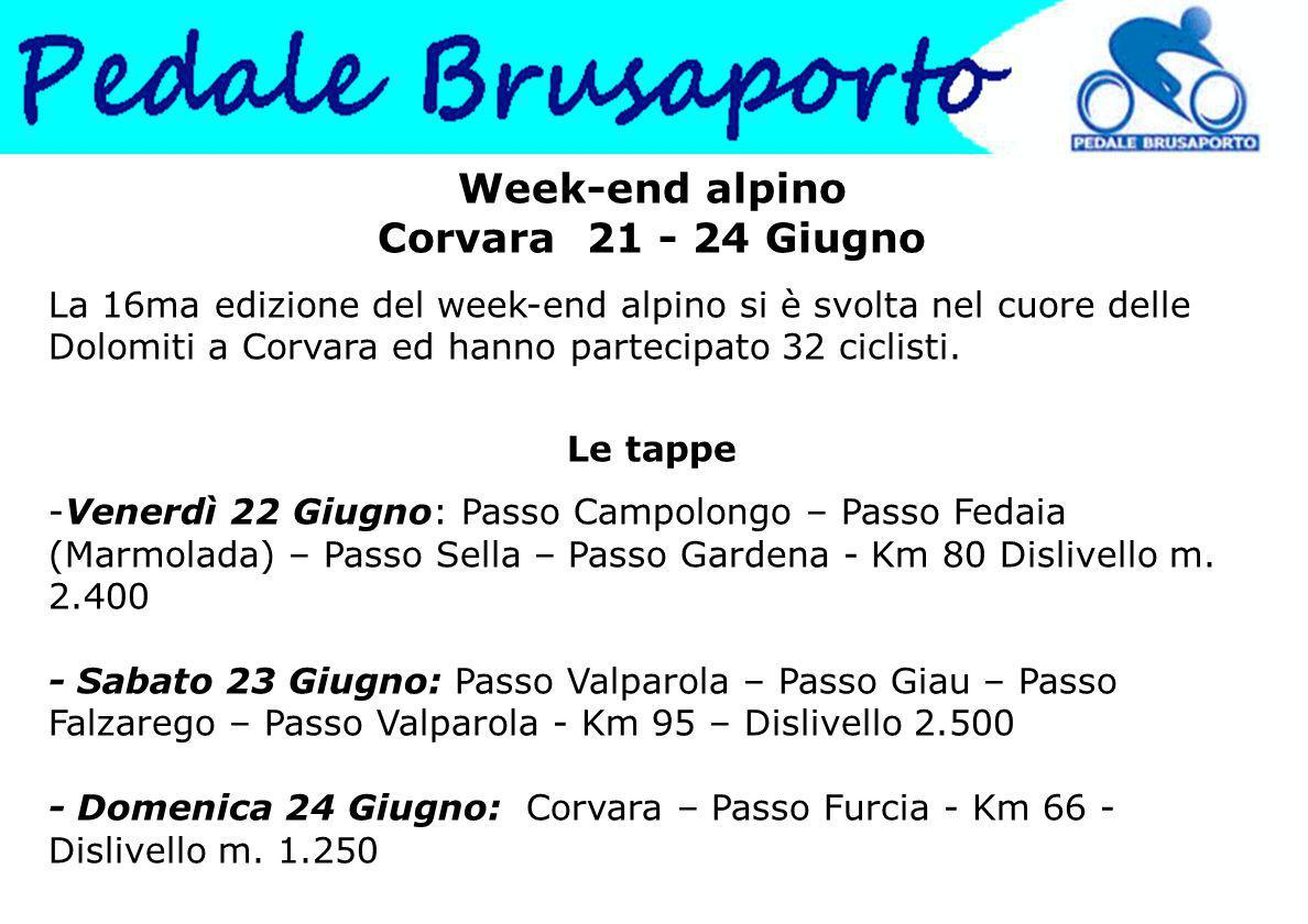 Week-end alpino Corvara 21 - 24 Giugno La 16ma edizione del week-end alpino si è svolta nel cuore delle Dolomiti a Corvara ed hanno partecipato 32 ciclisti.