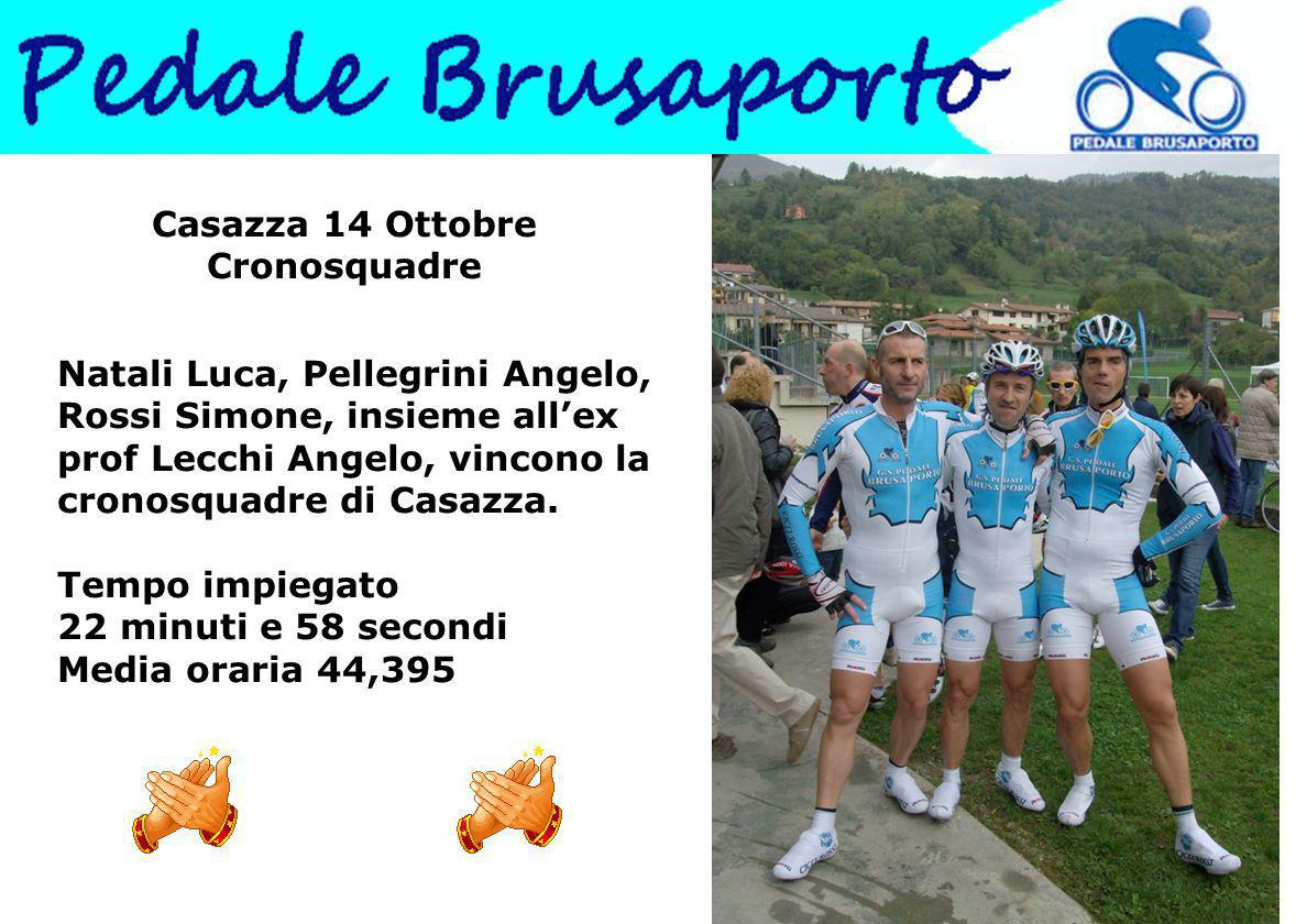 Casazza 14 Ottobre Cronosquadre Natali Luca, Pellegrini Angelo, Rossi Simone, insieme all'ex prof Lecchi Angelo, vincono la cronosquadre di Casazza.