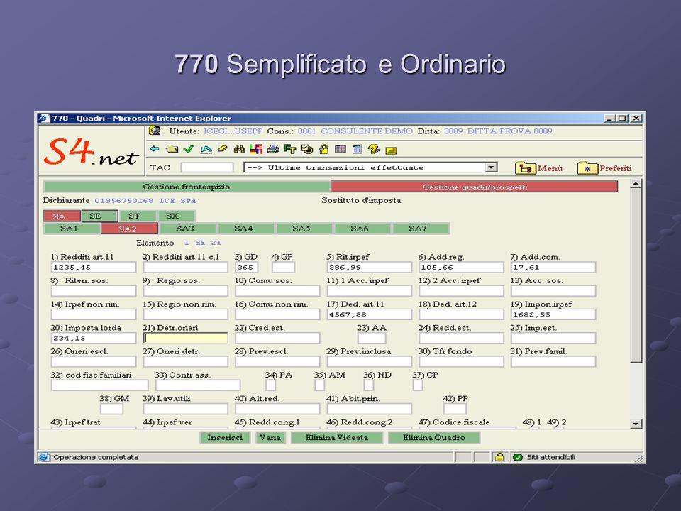 770 Semplificato e Ordinario