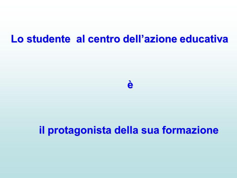Lo studente al centro dell'azione educativa è il protagonista della sua formazione