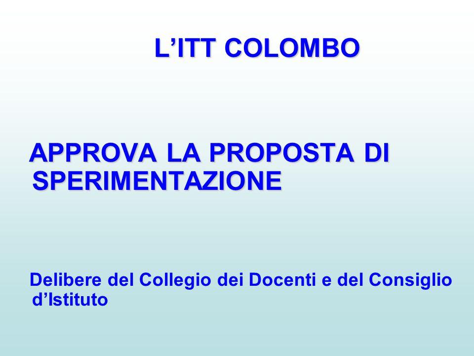 L'ITT COLOMBO APPROVA LA PROPOSTA DI SPERIMENTAZIONE Delibere del Collegio dei Docenti e del Consiglio d'Istituto