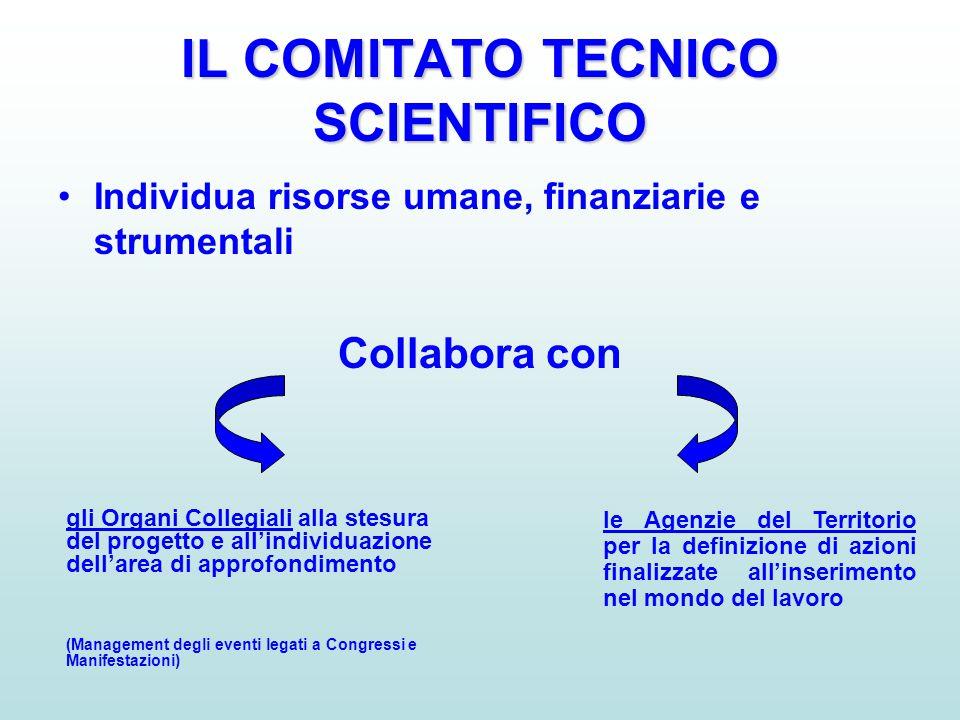 IL COMITATO TECNICO SCIENTIFICO •Individua risorse umane, finanziarie e strumentali Collabora con gli Organi Collegiali alla stesura del progetto e al
