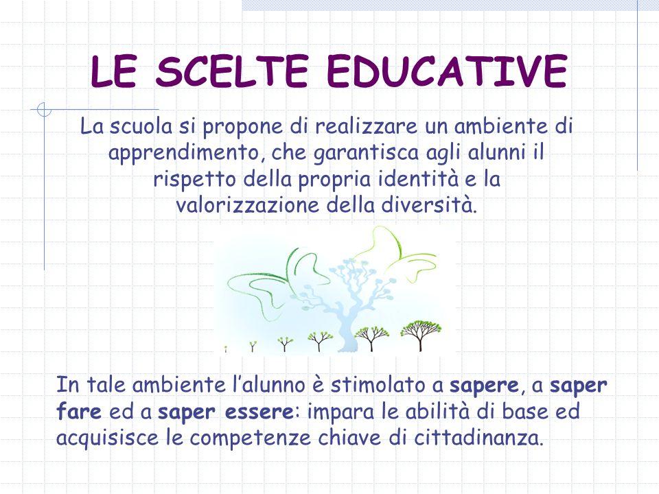 LE SCELTE EDUCATIVE La scuola si propone di realizzare un ambiente di apprendimento, che garantisca agli alunni il rispetto della propria identità e l