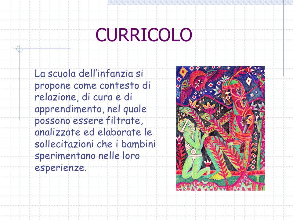 CURRICOLO La scuola dell'infanzia si propone come contesto di relazione, di cura e di apprendimento, nel quale possono essere filtrate, analizzate ed