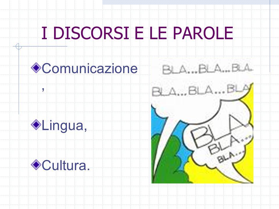 I DISCORSI E LE PAROLE Comunicazione, Lingua, Cultura.