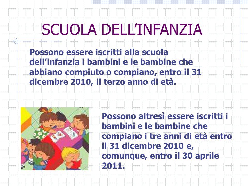 Possono essere iscritti alla scuola dell'infanzia i bambini e le bambine che abbiano compiuto o compiano, entro il 31 dicembre 2010, il terzo anno di