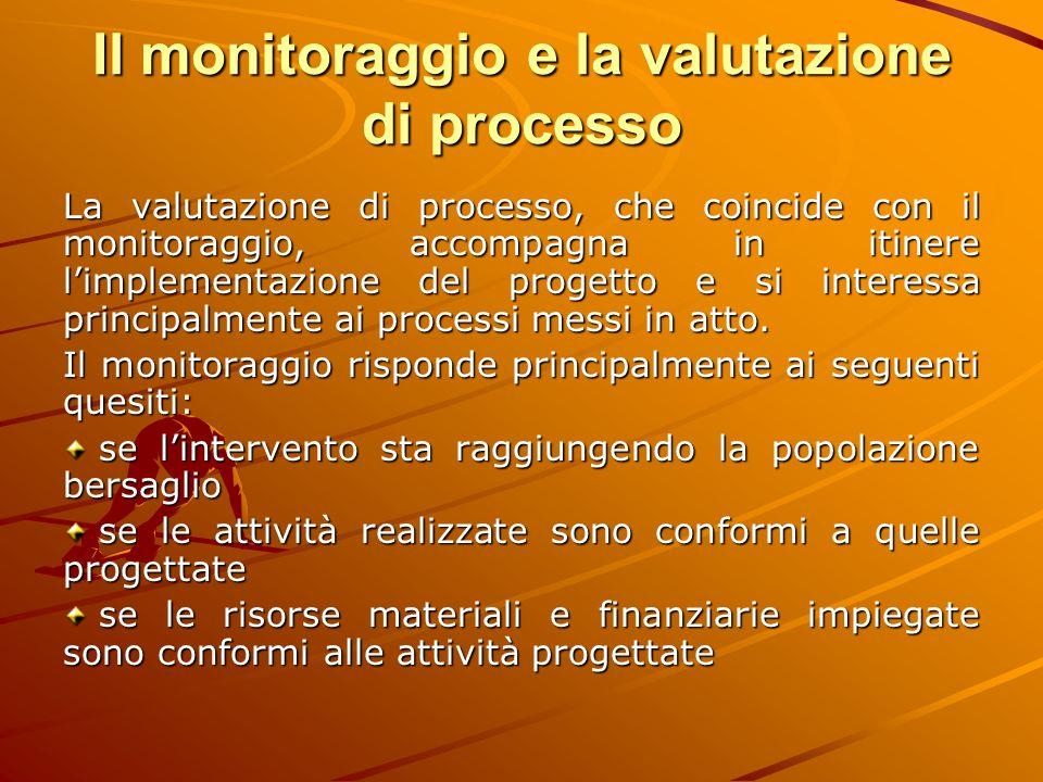 Il monitoraggio e la valutazione di processo La valutazione di processo, che coincide con il monitoraggio, accompagna in itinere l'implementazione del