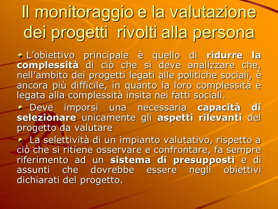Il monitoraggio e la valutazione dei progetti rivolti alla persona L'obiettivo principale è quello di ridurre la complessità di ciò che si deve analiz