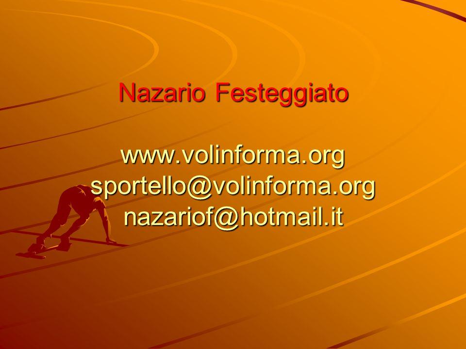 Nazario Festeggiato www.volinforma.org sportello@volinforma.org nazariof@hotmail.it