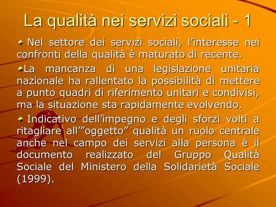 La qualità nei servizi sociali - 1 Nel settore dei servizi sociali, l'interesse nei confronti della qualità è maturato di recente. Nel settore dei ser