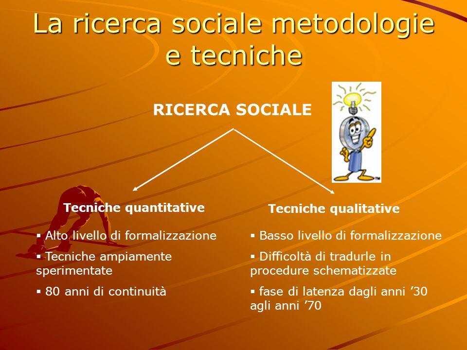 La ricerca sociale metodologie e tecniche RICERCA SOCIALE Tecniche quantitative Tecniche qualitative  Alto livello di formalizzazione  Tecniche ampi