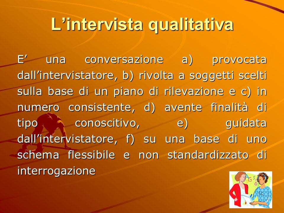 L'intervista qualitativa E' una conversazione a) provocata dall'intervistatore, b) rivolta a soggetti scelti sulla base di un piano di rilevazione e c