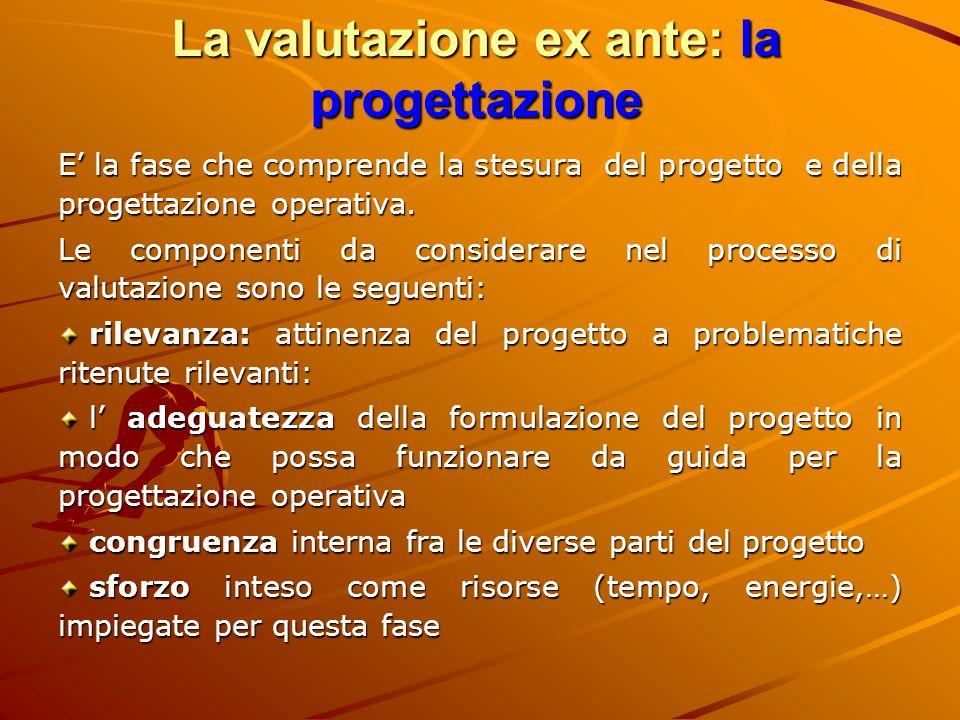 La valutazione ex ante: la progettazione E' la fase che comprende la stesura del progetto e della progettazione operativa. Le componenti da considerar