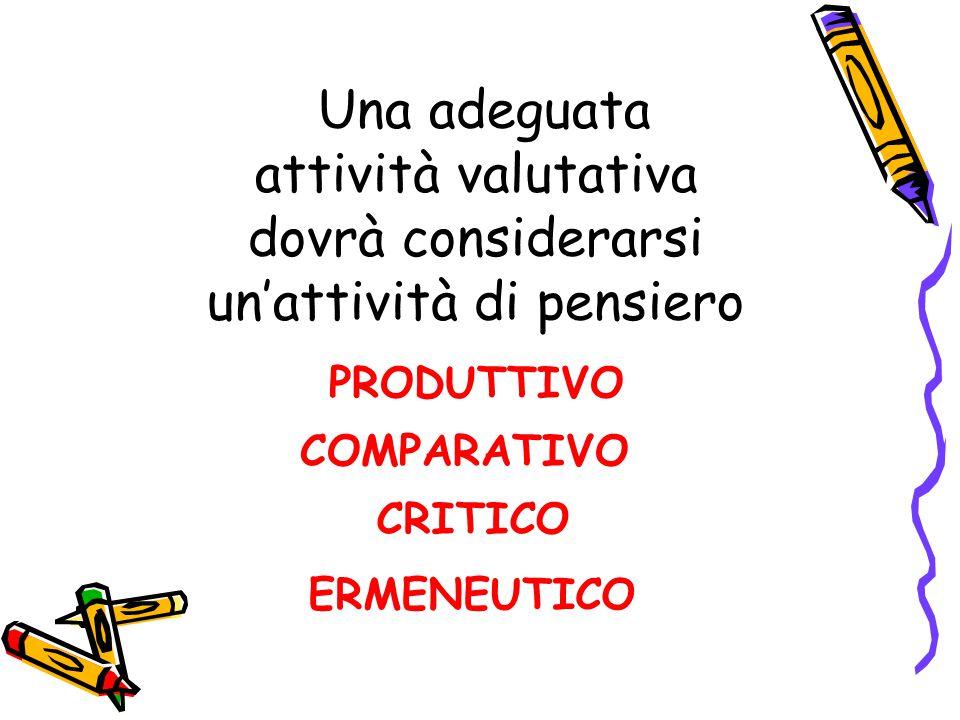 Una adeguata attività valutativa dovrà considerarsi un'attività di pensiero PRODUTTIVO COMPARATIVO CRITICO ERMENEUTICO