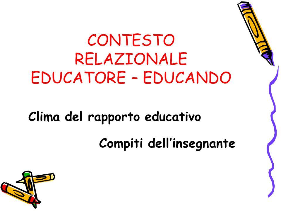CONTESTO RELAZIONALE EDUCATORE – EDUCANDO Clima del rapporto educativo Compiti dell'insegnante