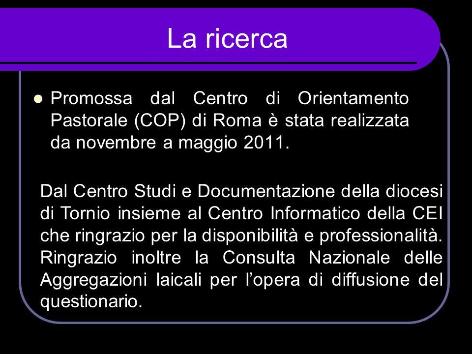 La ricerca  Promossa dal Centro di Orientamento Pastorale (COP) di Roma è stata realizzata da novembre a maggio 2011. Dal Centro Studi e Documentazio