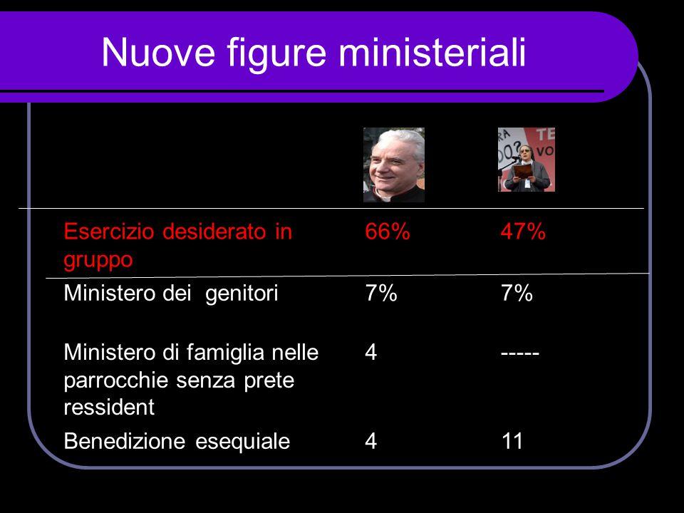 Nuove figure ministeriali Esercizio desiderato in gruppo 66%47% Ministero dei genitori7% Ministero di famiglia nelle parrocchie senza prete ressident