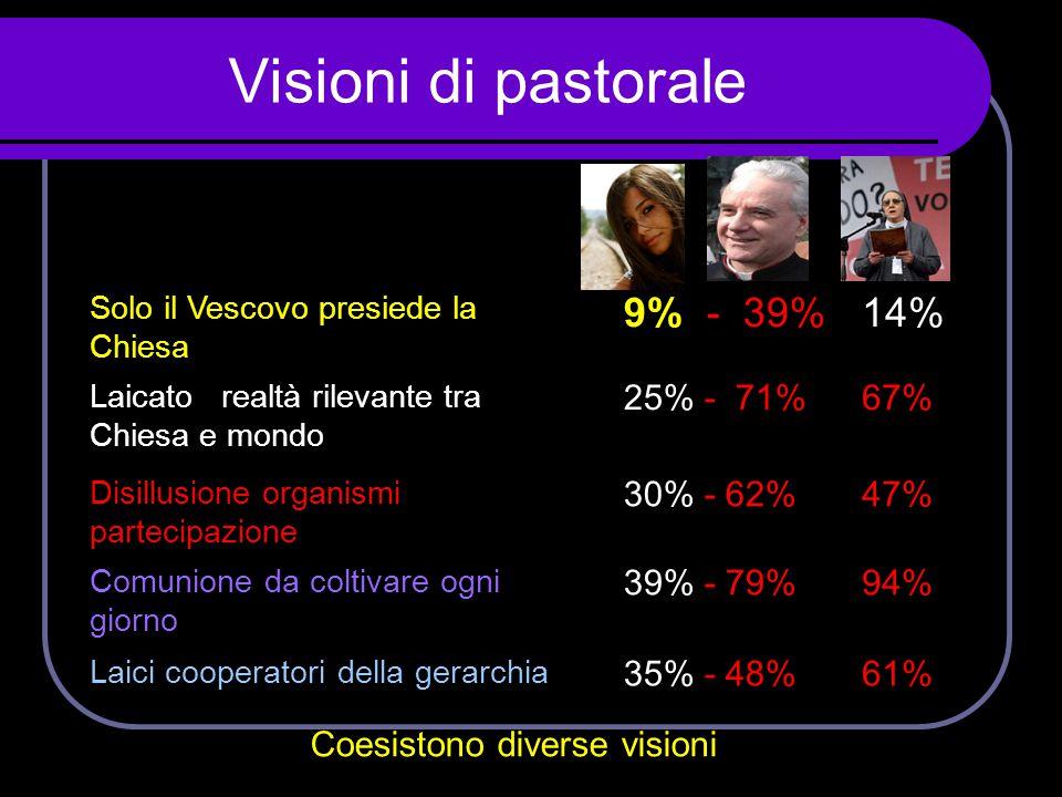 Visioni di pastorale Solo il Vescovo presiede la Chiesa 9% - 39%14% Laicato realtà rilevante tra Chiesa e mondo 25% - 71%67% Disillusione organismi pa
