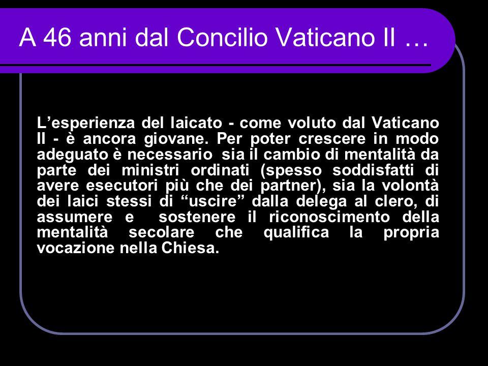 L'esperienza del laicato - come voluto dal Vaticano II - è ancora giovane. Per poter crescere in modo adeguato è necessario sia il cambio di mentalità