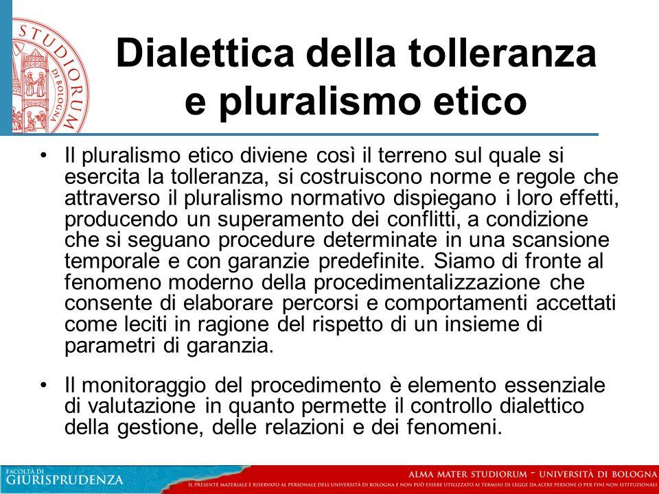 Dialettica della tolleranza e pluralismo etico •Il pluralismo etico diviene così il terreno sul quale si esercita la tolleranza, si costruiscono norme