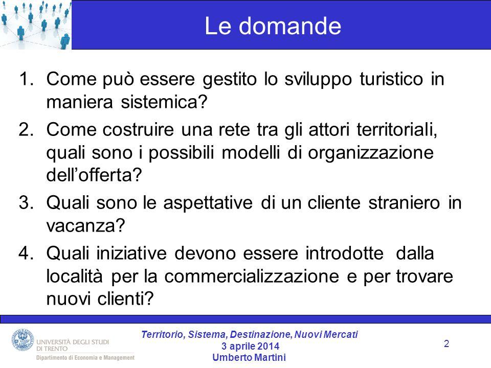Territorio, Sistema, Destinazione, Nuovi Mercati 3 aprile 2014 Umberto Martini Il punto di vista 3