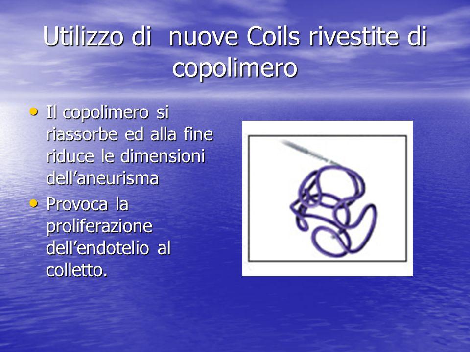 Utilizzo di nuove Coils rivestite di copolimero • Il copolimero si riassorbe ed alla fine riduce le dimensioni dell'aneurisma • Provoca la proliferazi