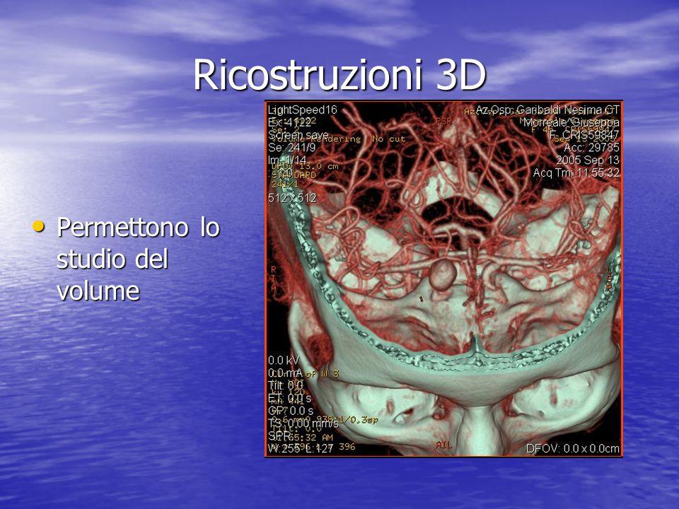 Ricostruzioni 3D • Permettono lo studio del volume
