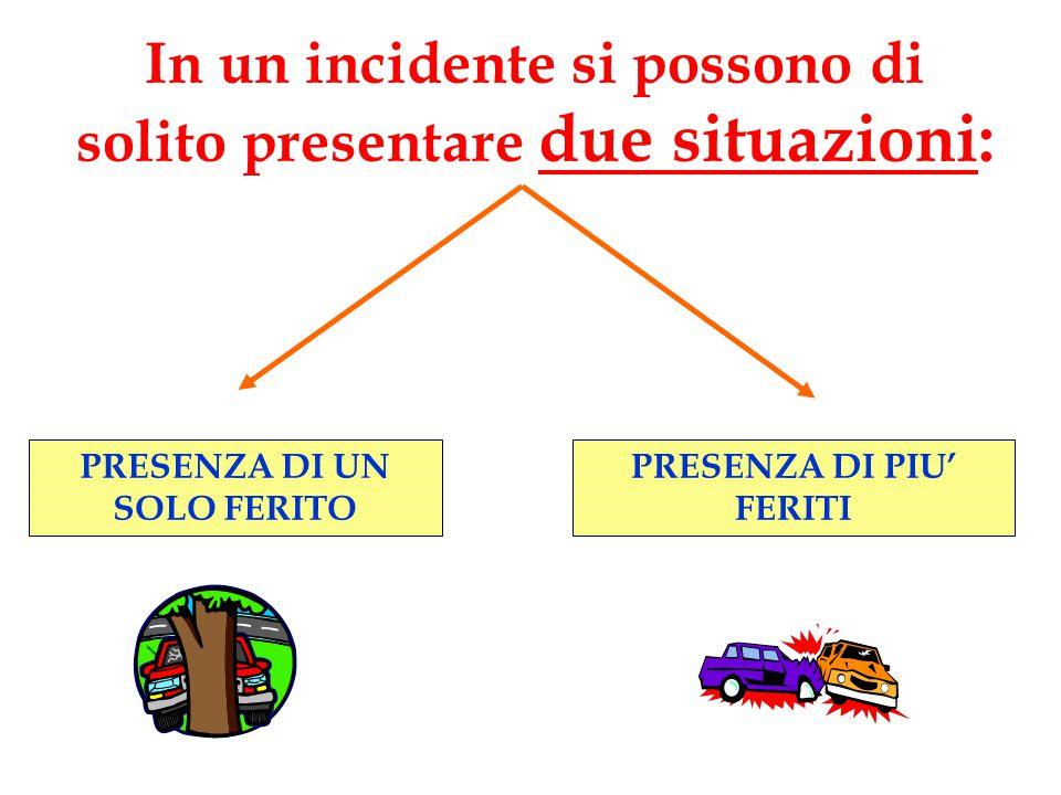 In un incidente si possono di solito presentare due situazioni: PRESENZA DI UN SOLO FERITO PRESENZA DI PIU' FERITI
