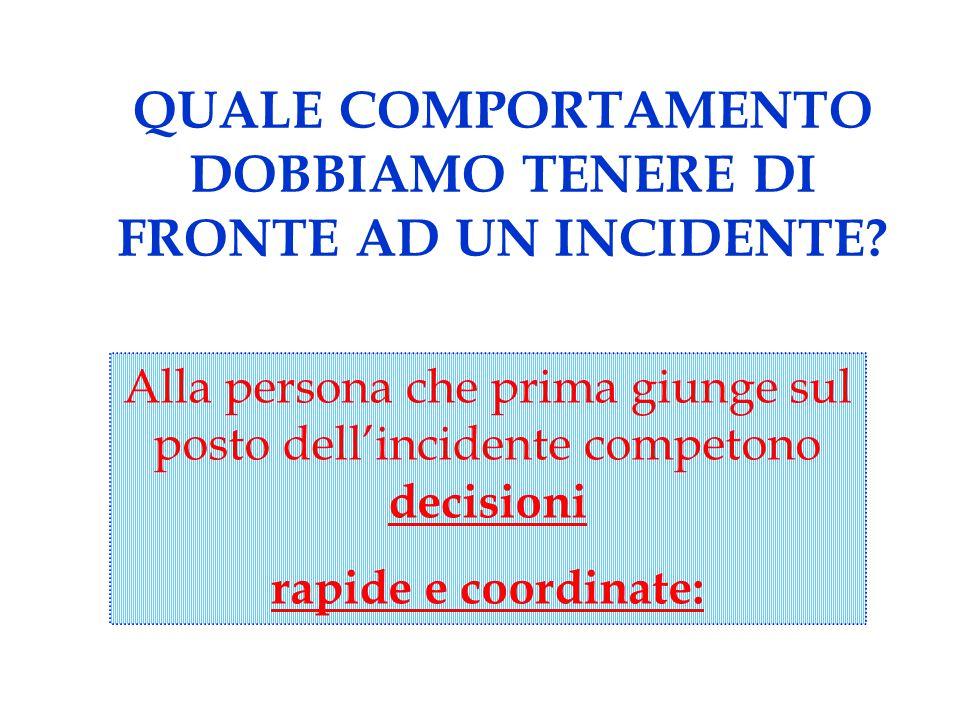 QUALE COMPORTAMENTO DOBBIAMO TENERE DI FRONTE AD UN INCIDENTE.