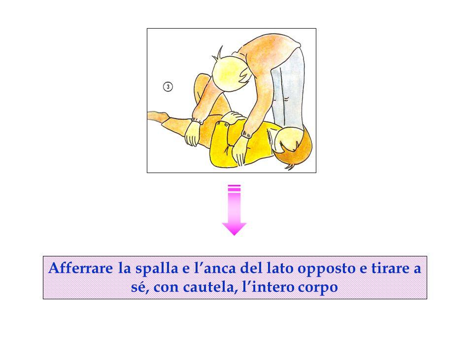 Afferrare la spalla e l'anca del lato opposto e tirare a sé, con cautela, l'intero corpo