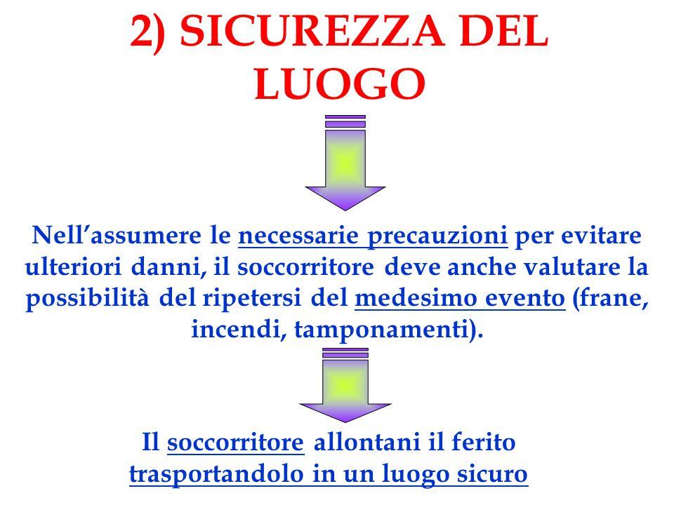 2) SICUREZZA DEL LUOGO Nell'assumere le necessarie precauzioni per evitare ulteriori danni, il soccorritore deve anche valutare la possibilità del ripetersi del medesimo evento (frane, incendi, tamponamenti).