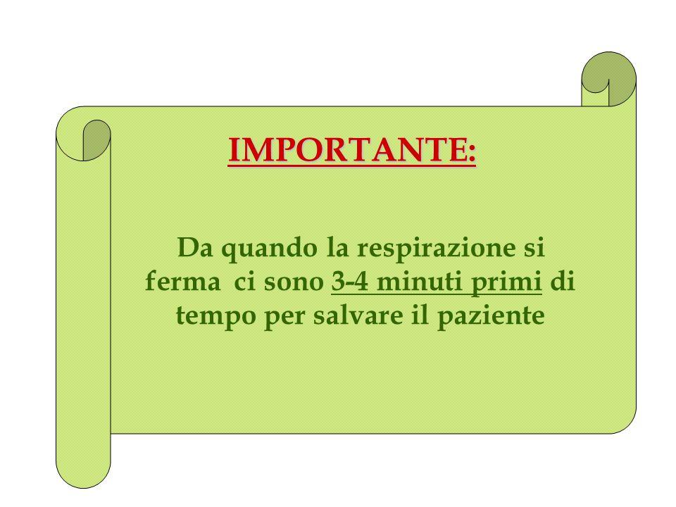 IMPORTANTE: Da quando la respirazione si ferma ci sono 3-4 minuti primi di tempo per salvare il paziente
