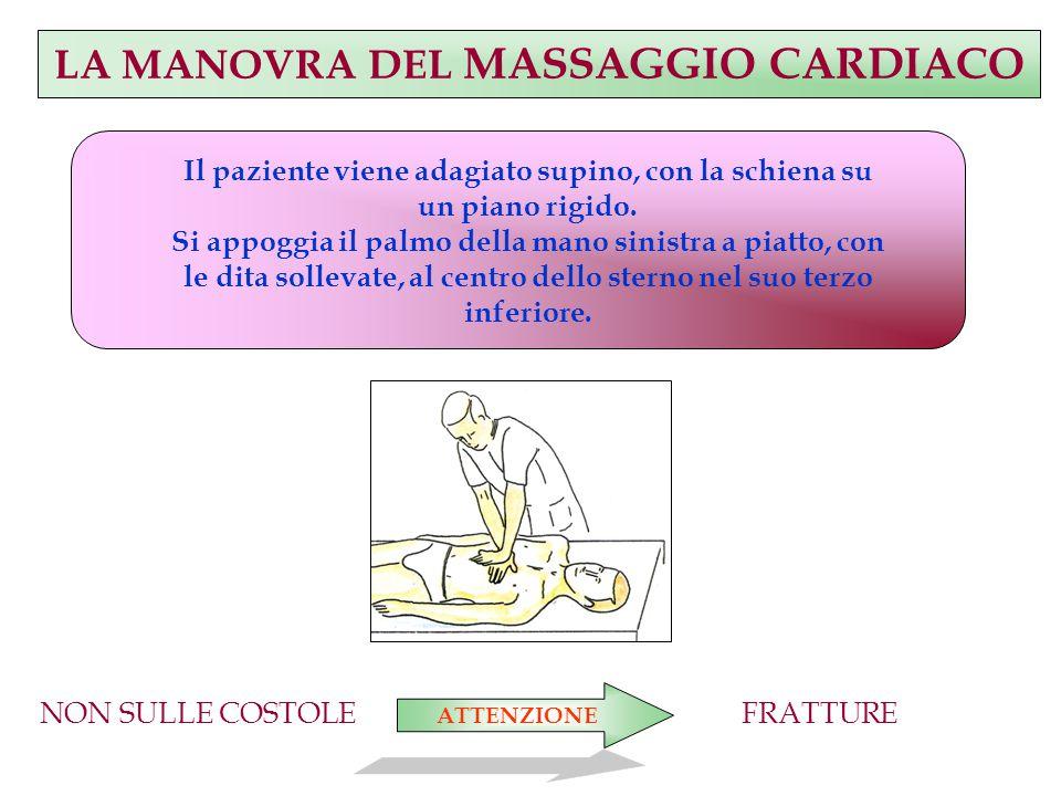LA MANOVRA DEL MASSAGGIO CARDIACO Il paziente viene adagiato supino, con la schiena su un piano rigido.