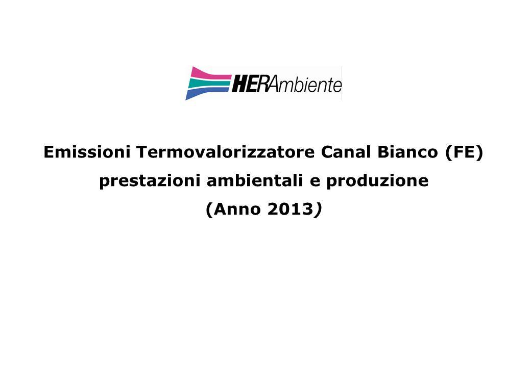 Emissioni Termovalorizzatore Canal Bianco (FE) prestazioni ambientali e produzione (Anno 2013)