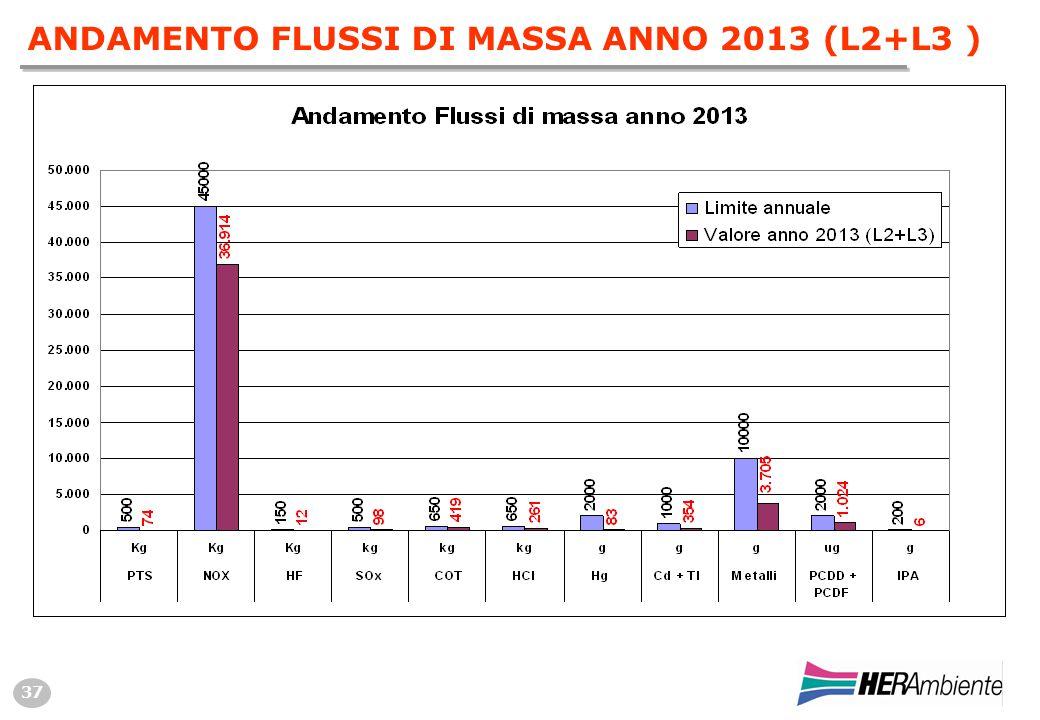 37 ANDAMENTO FLUSSI DI MASSA ANNO 2013 (L2+L3 )