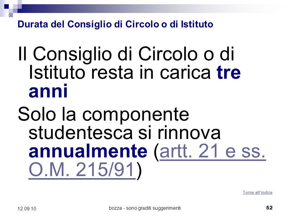 bozza - sono graditi suggerimenti52 12.09.10 Durata del Consiglio di Circolo o di Istituto Il Consiglio di Circolo o di Istituto resta in carica tre a