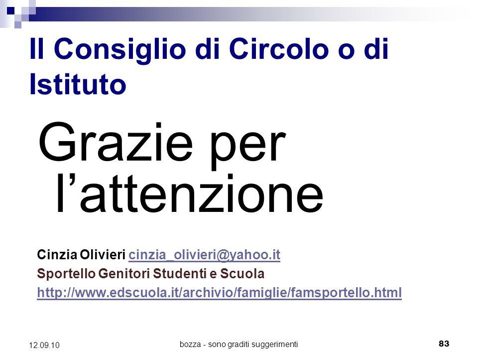 bozza - sono graditi suggerimenti83 12.09.10 Il Consiglio di Circolo o di Istituto Grazie per l'attenzione Cinzia Olivieri cinzia_olivieri@yahoo.itcin