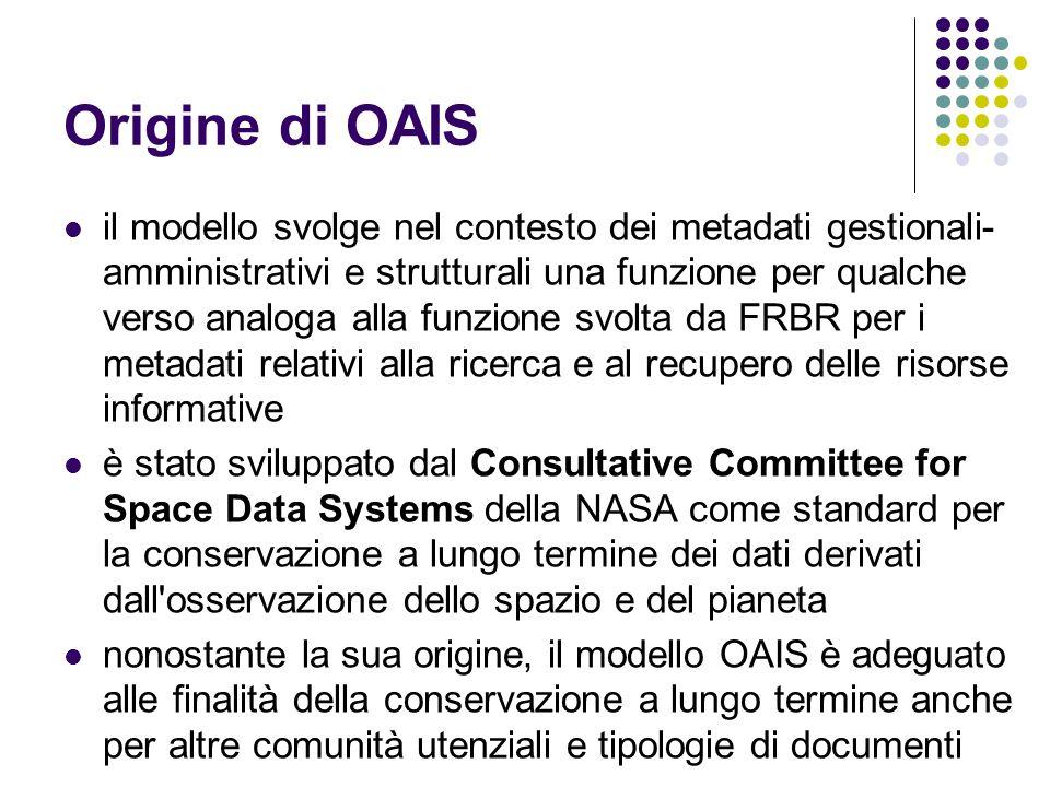 Origine di OAIS  il modello svolge nel contesto dei metadati gestionali- amministrativi e strutturali una funzione per qualche verso analoga alla fun