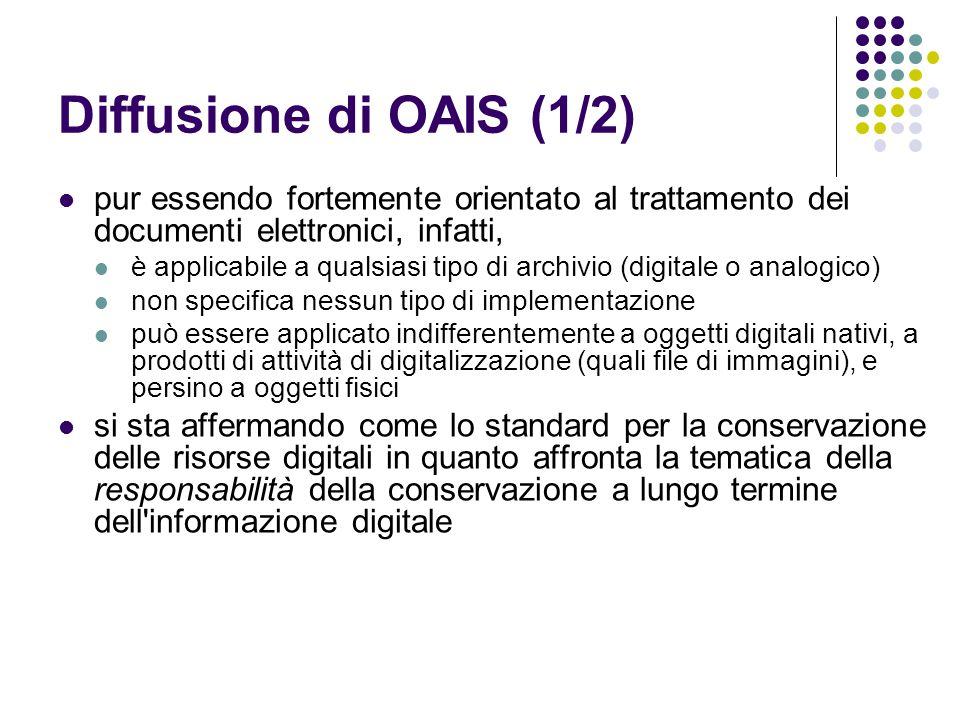 Diffusione di OAIS (1/2)  pur essendo fortemente orientato al trattamento dei documenti elettronici, infatti,  è applicabile a qualsiasi tipo di arc