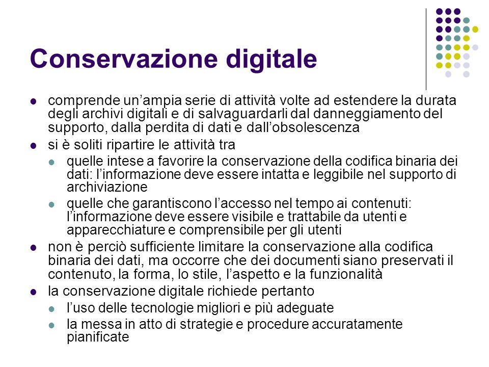 Conservazione digitale  comprende un'ampia serie di attività volte ad estendere la durata degli archivi digitali e di salvaguardarli dal danneggiamen