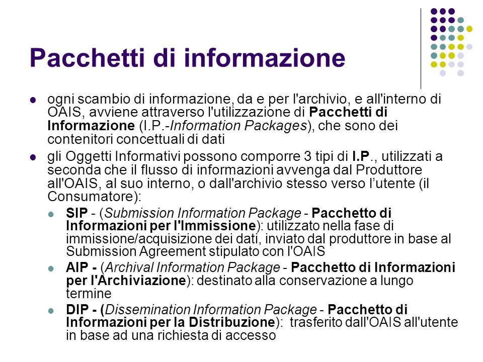 Pacchetti di informazione  ogni scambio di informazione, da e per l archivio, e all interno di OAIS, avviene attraverso l utilizzazione di Pacchetti di Informazione (I.P.-Information Packages), che sono dei contenitori concettuali di dati  gli Oggetti Informativi possono comporre 3 tipi di I.P., utilizzati a seconda che il flusso di informazioni avvenga dal Produttore all OAIS, al suo interno, o dall archivio stesso verso l'utente (il Consumatore):  SIP - (Submission Information Package - Pacchetto di Informazioni per l Immissione): utilizzato nella fase di immissione/acquisizione dei dati, inviato dal produttore in base al Submission Agreement stipulato con l OAIS  AIP - (Archival Information Package - Pacchetto di Informazioni per l Archiviazione): destinato alla conservazione a lungo termine  DIP - (Dissemination Information Package - Pacchetto di Informazioni per la Distribuzione): trasferito dall OAIS all utente in base ad una richiesta di accesso