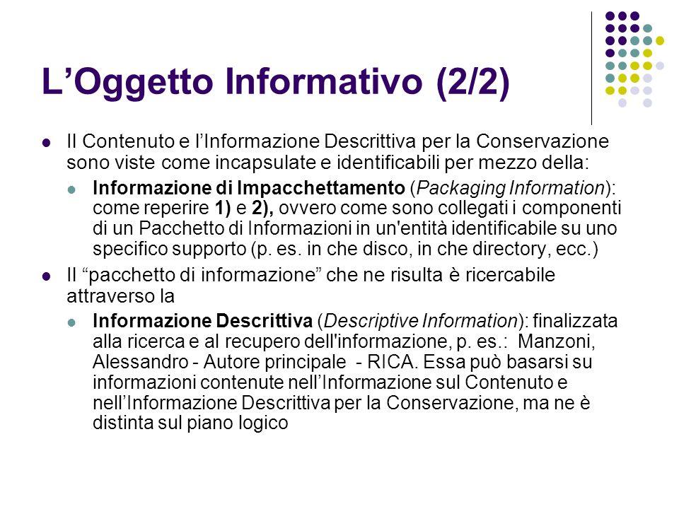 L'Oggetto Informativo (2/2)  Il Contenuto e l'Informazione Descrittiva per la Conservazione sono viste come incapsulate e identificabili per mezzo della:  Informazione di Impacchettamento (Packaging Information): come reperire 1) e 2), ovvero come sono collegati i componenti di un Pacchetto di Informazioni in un entità identificabile su uno specifico supporto (p.
