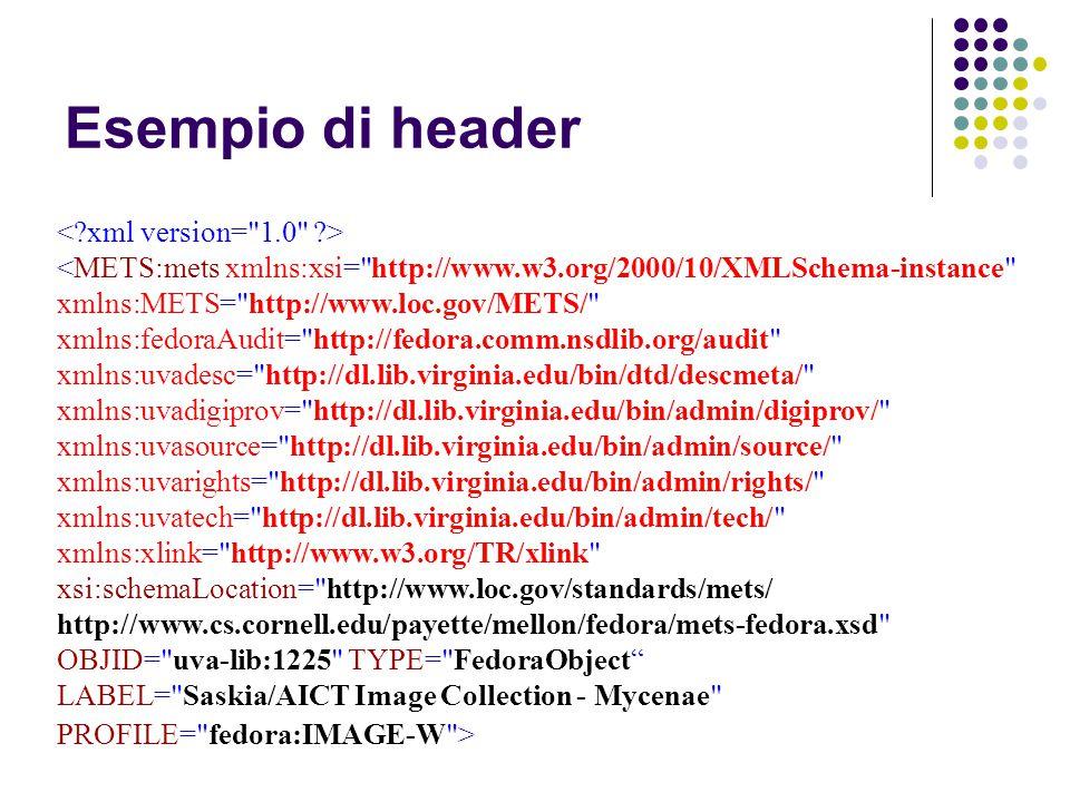 <METS:mets xmlns:xsi= http://www.w3.org/2000/10/XMLSchema-instance xmlns:METS= http://www.loc.gov/METS/ xmlns:fedoraAudit= http://fedora.comm.nsdlib.org/audit xmlns:uvadesc= http://dl.lib.virginia.edu/bin/dtd/descmeta/ xmlns:uvadigiprov= http://dl.lib.virginia.edu/bin/admin/digiprov/ xmlns:uvasource= http://dl.lib.virginia.edu/bin/admin/source/ xmlns:uvarights= http://dl.lib.virginia.edu/bin/admin/rights/ xmlns:uvatech= http://dl.lib.virginia.edu/bin/admin/tech/ xmlns:xlink= http://www.w3.org/TR/xlink xsi:schemaLocation= http://www.loc.gov/standards/mets/ http://www.cs.cornell.edu/payette/mellon/fedora/mets-fedora.xsd OBJID= uva-lib:1225 TYPE= FedoraObject LABEL= Saskia/AICT Image Collection - Mycenae PROFILE= fedora:IMAGE-W > Esempio di header